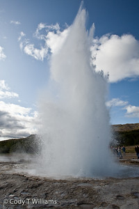 The Geothermal Park of Rangarvallasysia, Iceland. Strókkur (The Churn), a geyser which erupts at regular intervals and its boiling hot water reaches as high as 20-30 metres. September, 2009 © Cody T Williams.