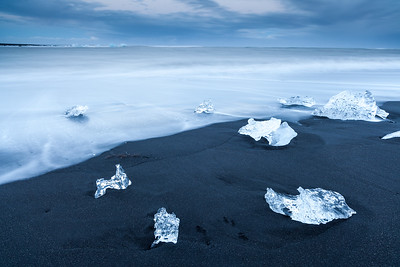 Iceberg fragments on Jökulsárlón beach, South Iceland