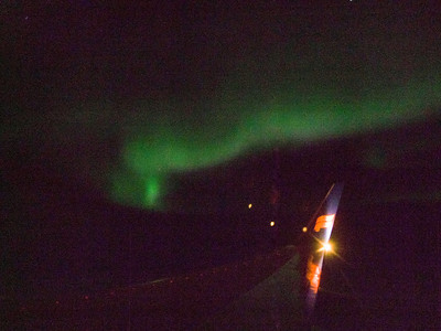 Not a good photo, but it was amazing to see a display of the Northern Lights as we flew over Hudson's Bay