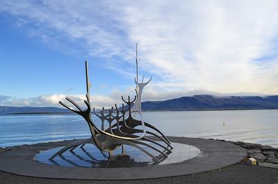 Sun Viking sculpture on Reykjavik waterfront