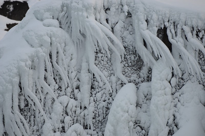 Huge ice formations in the waterfall where everyone threw away the symbols of their pagan gods. Then they got into Christ.