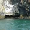 Water erosion forming a cave (Breidafjordur)