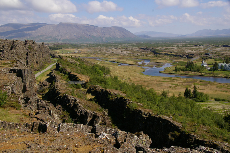 Þingvellir National Park. First parliament met here in 930.  This is also the rift between North American and Eurasian tectonic plates.