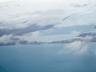 Jokulsarlon glacier lagoon, from the air
