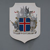 Icelandic national seal on a coast guard cutter.