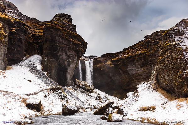Kvernufoss Waterfall and Birds