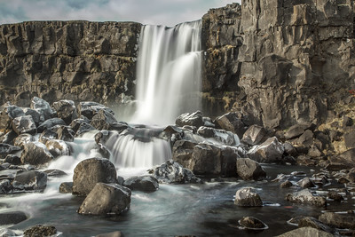 Thingvellir National Park: Öxarárfoss waterfall, Iceland.