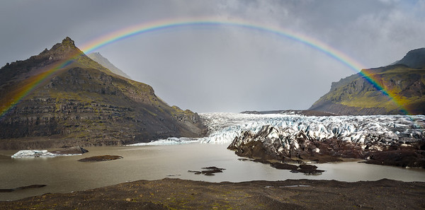 Rainbow over Glacier Svinafellsjökull