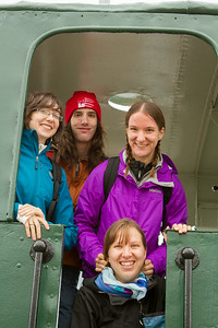 Abby, Gennie, Rachel, and Theo on board a train used to build seawalls. - Copyright (c) 2014 Daniel Noe