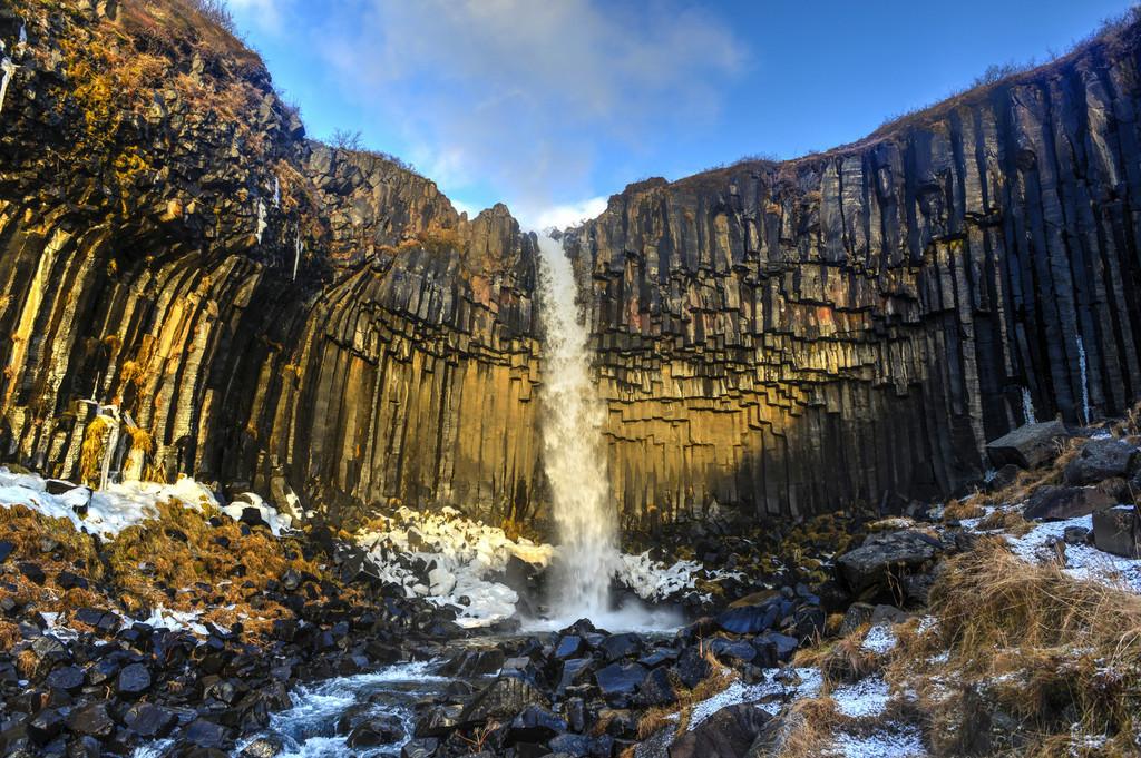 Svartifoss Waterfall in Early Winter