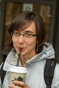 Rachel is satisfied with a coffee. - Copyright (c) 2014 Daniel Noe