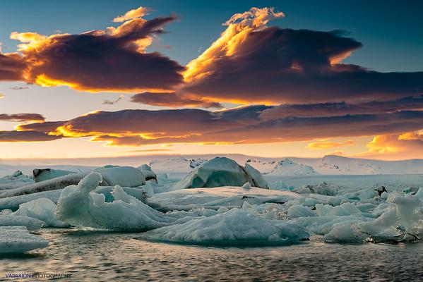 Jökulsárlón Lake and Clouds