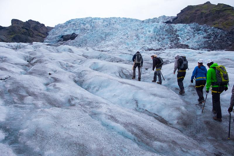 Below the ice fall