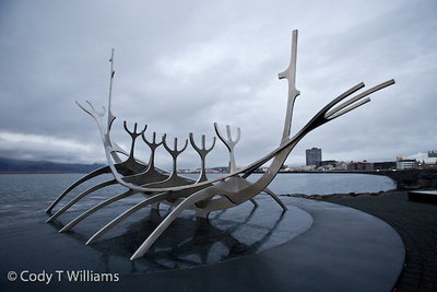 The sculpture resembling a viking ship Solfar, Sun Voyager, by the artist Jón Gunnar stands just outside the Old Harbour of Reykjavik, Iceland. September, 2009 © Cody T Williams.