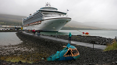 Our ship in the port of Akureyri on the north coast of Iceland