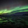 Northern lights, with Jökulsárlón glacier lagoon