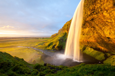 Seljalandsfoss waterfall at sunset, South-West Iceland