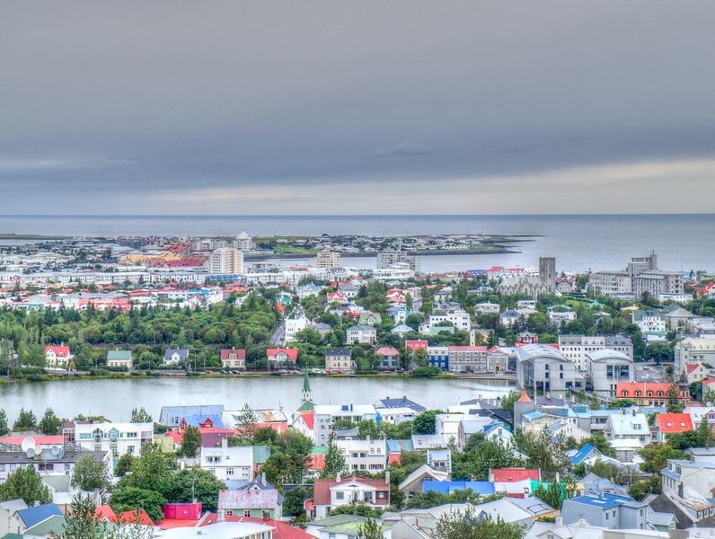 The view from the top of Hallgrimskirkja, Reykjavik, Iceand