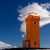 Orange lighthouse in Snaefellsnes