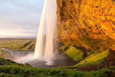 Seljalandsfoss waterfall at sunset, South-West Iceland