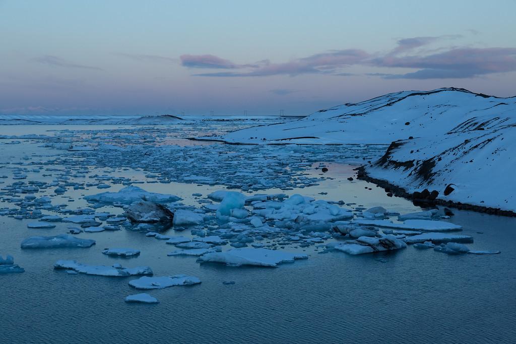 Sunset on a glacial lagoon