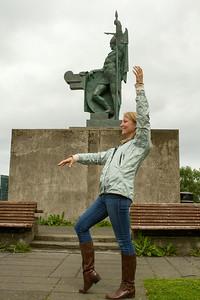 Molly imitates statue. - Copyright (c) 2014 Daniel Noe