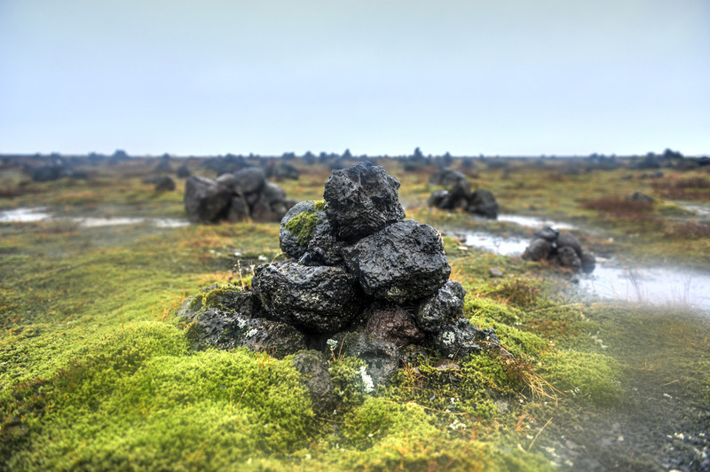 Field of Stone Cairns at Laufskalavarda, Iceland