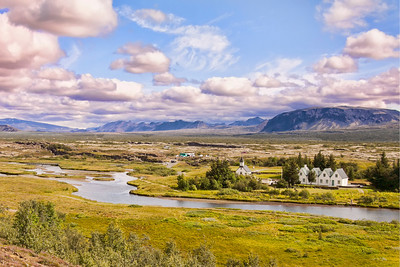 Þingvellir National Park is the site of a rift valley that marks the crest of the Mid-Atlantic Ridge.  The world's oldest parliament or Alþingi was established at Þingvellir in 930 and remained there until 1798