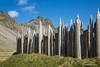 Viking village fence and rocky peaks