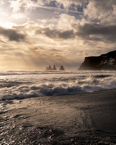 Reynisdrangar sea stacks as seen from Vik