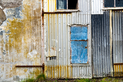 Patched Herring Factory Wall- Djupavik, Iceland