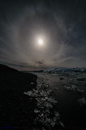 Lunar Halo over the Glacial River