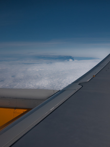 Volcano in Eyjafjallajökull. May 2. 2010. Seen from the air, above the clouds