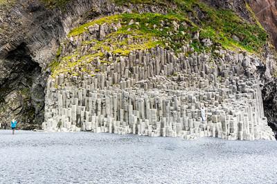 Basalt columns on the beach