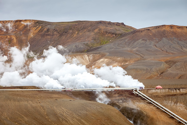 Geothermal plant near Viti crater in Krafla, North Iceland