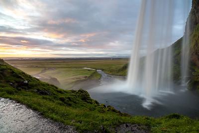 Seljalandsfoss waterfall after sunset,  South-West Iceland
