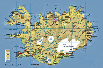 Akureyri is located at the end of a fjord on north coast of Iceland
