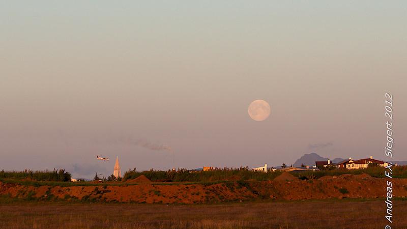 Moon over Reykjavik
