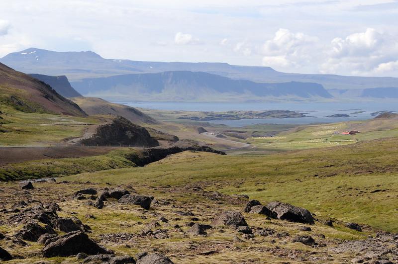 Looking down on Verzlunarstaður from the north.