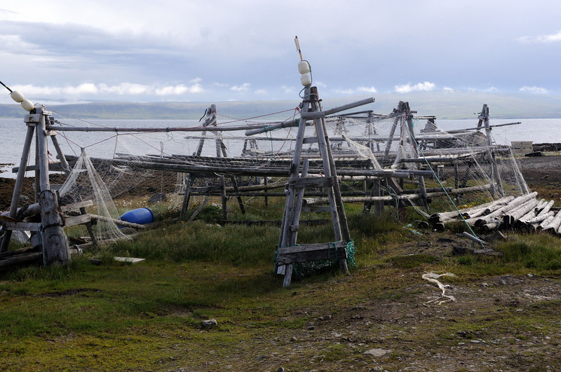 Fish drying racks near Drangsnes.