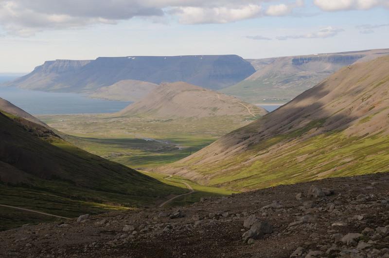 Looking north towards Þingeyr from the road between Hrafnseyri and Þingeyr.