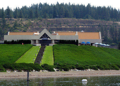 The Coeur D'Alene Resort Golf Course clubhouse, as it appears to visiting golfers docking in the water taxi from the Resort Hotel.