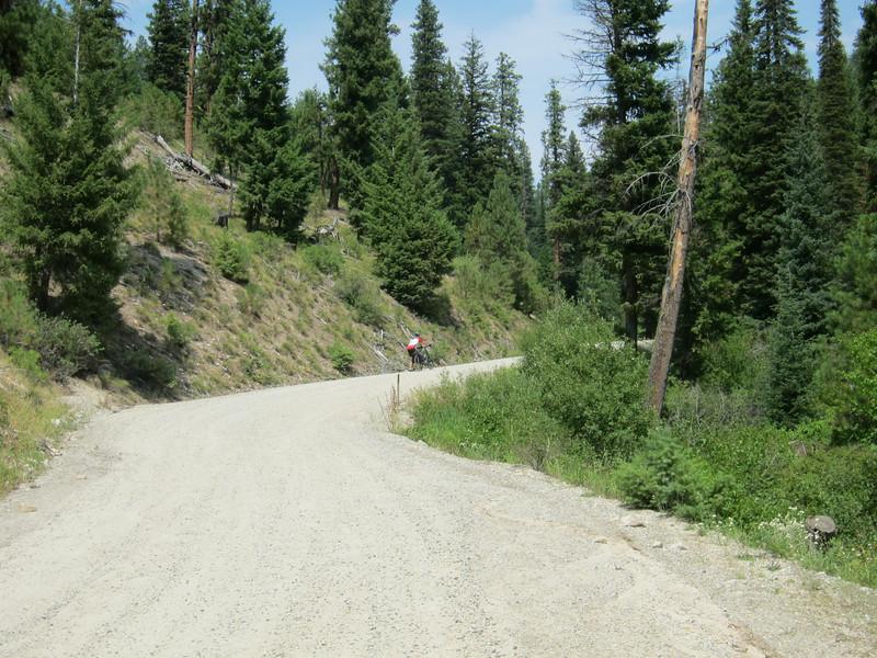 Heading uphill.