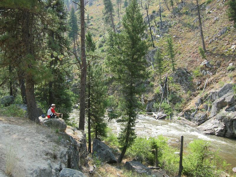 Ken taking a break along Rabbit Creek.
