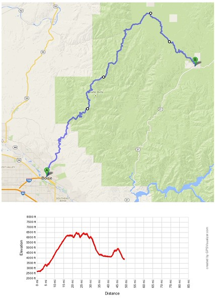 Day 1: Boise to Idaho City; 49.4 miles, average 7.5 mph.