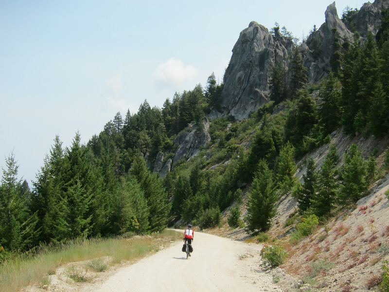 Once we passed the ski area, the road turned to gravel. My bike computer fell off, and I had to backtrack a mile to find it.