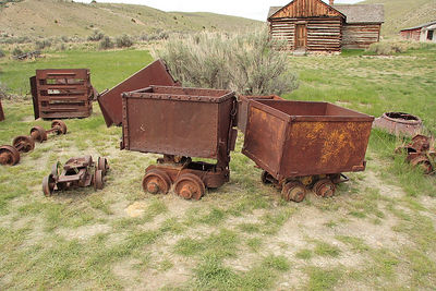 Old mining implements in Bannack SP, MT.
