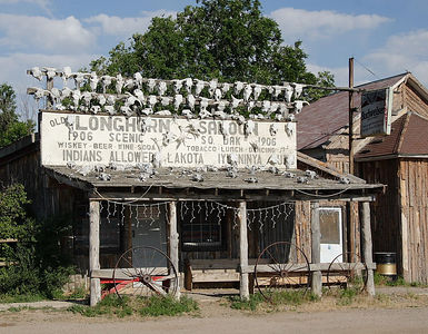 Longhorn Saloon in Scenic, SD., on the way to Badlands NP. It was closed in May but supposedly opens during the Summer and serves food and drink. I saw one person in this tiny town.