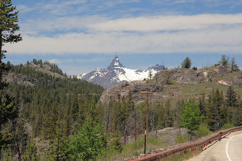 Pilot Mountain as seen from the Chief Joseph Highway in WY heading for Yellowstone NP.
