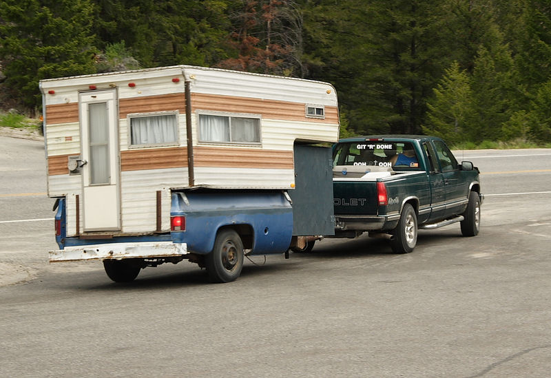 """Redneck"" camper along the Salmon River in Idaho."